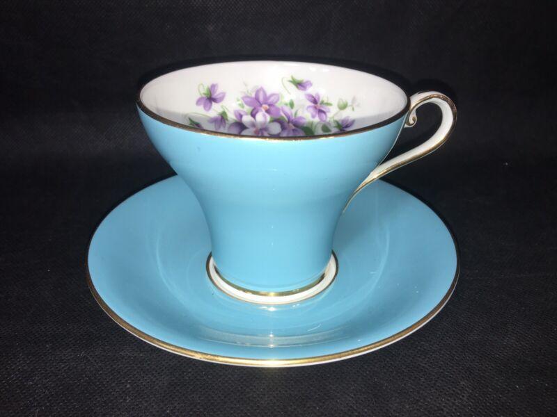 AYNSLEY CORSET SHAPE PALE BLUE TEA CUP & SAUCER Violets Gold Trim Made England