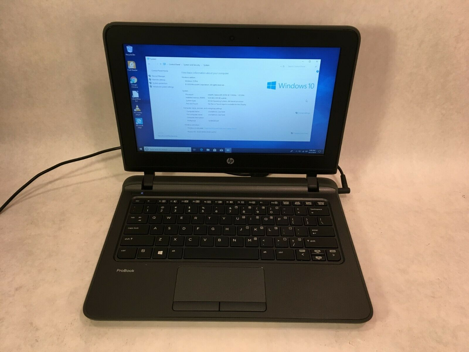 "Laptop Windows - HP ProBook 11 G1 11.6"" Laptop Intel 1.5GHz / 4GB RAM / 120GB SSD / Windows 10"