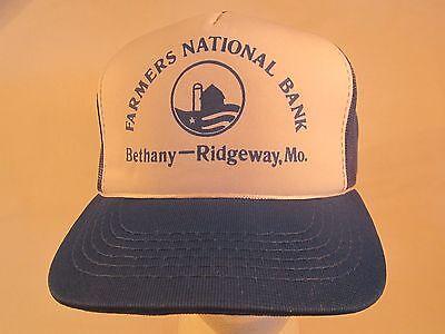 Vintage Mens Cap Farmers National Bank Bethany Ridgeway  Missouri  Z84a