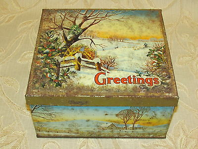 Large Vintage Collectable Greetings Tin
