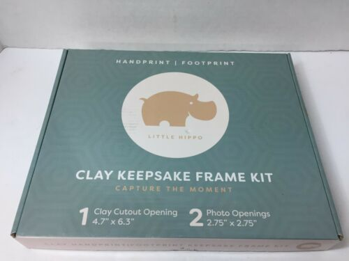 Little Hippo Baby Handprint Footprint Kit Clay Picture Frame Gift Keepsake Child