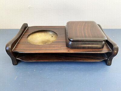 Vintage Japanese Smoking Set Brass Ashtray + Cigarette Box ~ nice wooden case ~