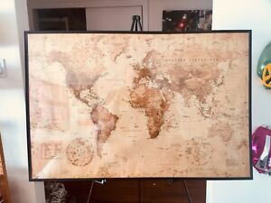 Massive old school style map of the world framed/unframed