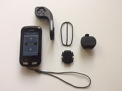 Garmin Edge 1000 GPS cycle computer, speed and cadence sensors, bar mount.