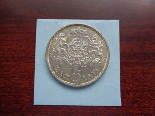1929 Latvia 5 Lati Large silver coin