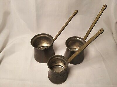 Vintage Brass/Copper/Pewter 3 x Arabian Measuring Jugs in Good Condition