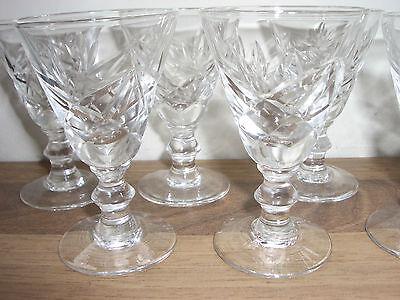 Vintage set of 6 cut glass liqueur glasses - excellent condition