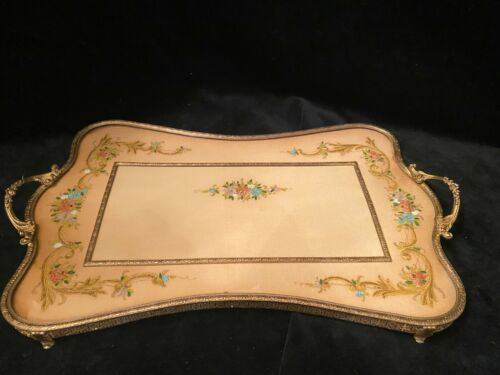 Vintage Vanity tray large gilt Brass with Floral painted garlands on velvet