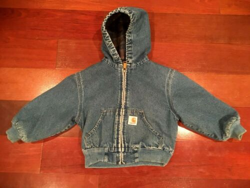 VINTAGE CARHARTT USA BLUE DENIM BLANKET LINED HOODIE JACKET 4T YOUTH USA