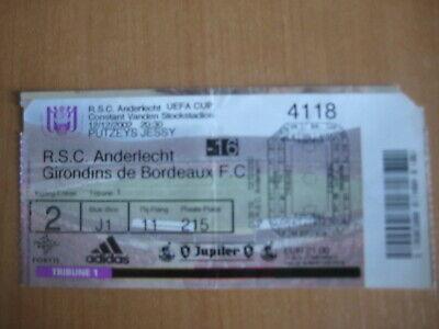 Ticket: Anderlecht - Girondins de Bordeaux UEFA (12-12-02)