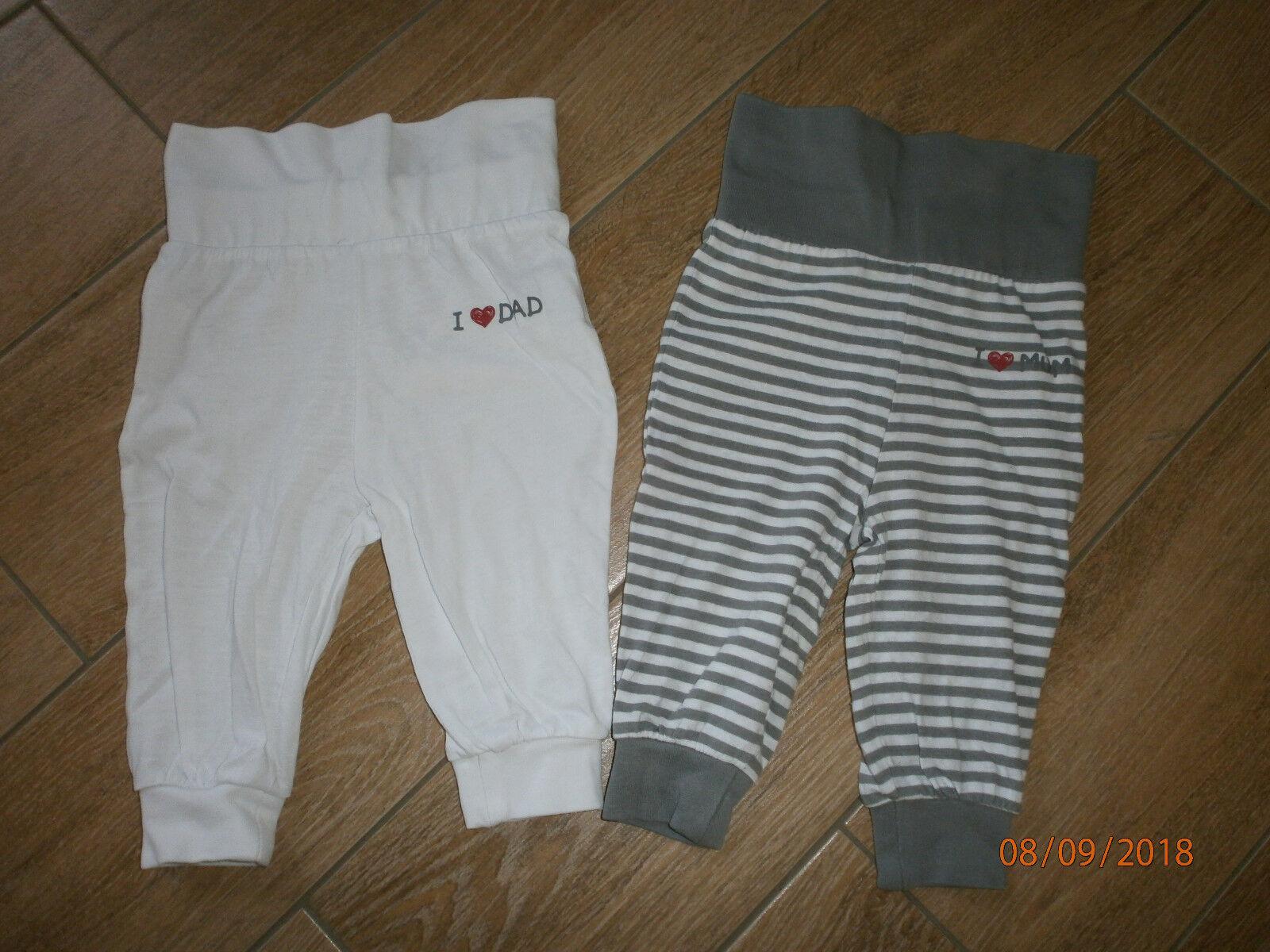 2 süße Baby-Schlupfhosen Gr.68 weiß-grau (I love Mum and I love Dad)