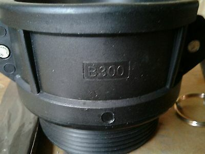 "3""  B-300 Cam lock 300B Polypropylene Poly Male NPT x Female camlock M Adapter"
