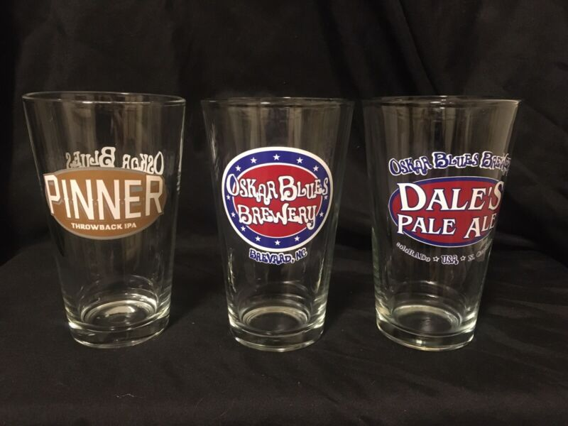 3 Different Oskar Blues Brewery Beer Pint Glasses  Z
