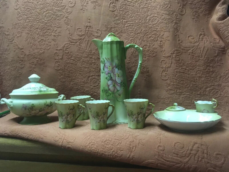 Lot Vintage Nippon Green Dogwood Chocolate Pot Set Cups Cream Sugar Covered Dish