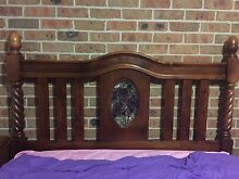 Walnut  four poster queen bed head with stained glass Maryland 2287 Newcastle Area Preview
