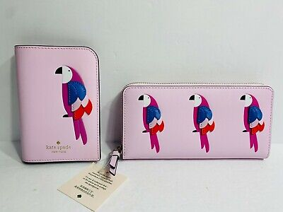 Kate Spade Pink Flock Party Large Zip Wallet and Passport Holder Set NEW