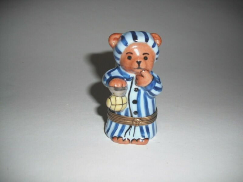 Peint Main Limoges Trinket-Bedtime Bear