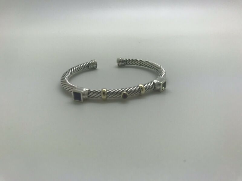 David Yurman 925 14k Amethyst Rh. Garnet Peridot Renaissance Cable Bracelet