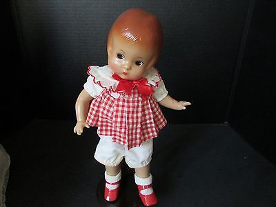 "EFFANBEE 12"" TALL PATSY DOLL RED & WHITE CHECK DRESS HARD TO FIND"