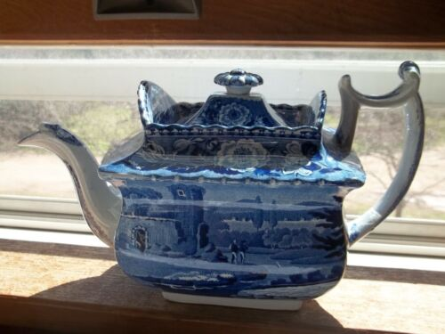 Early 1800s Large Enoch Wood & Sons Flow Blue Teapot