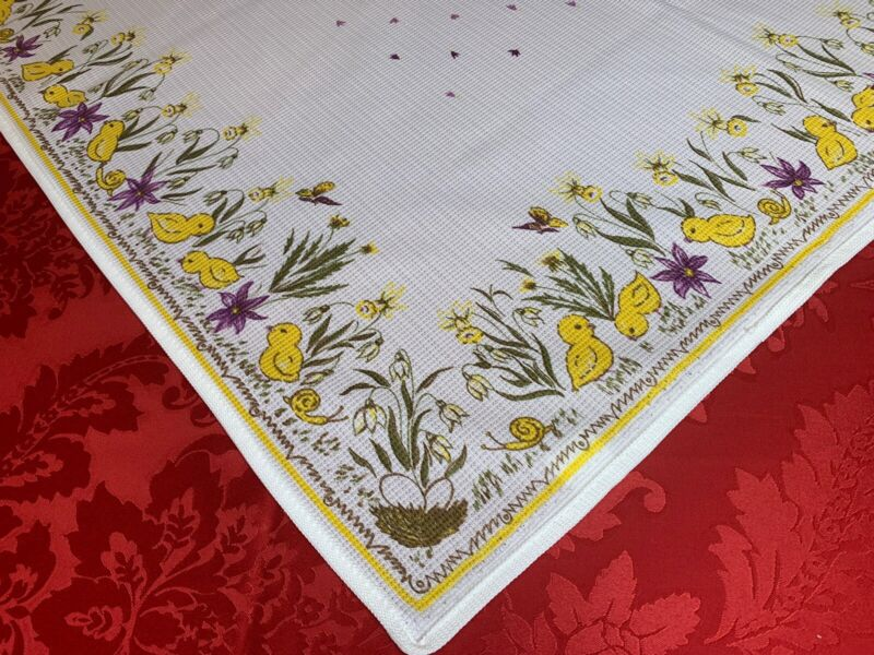 """32"""" Square Vintage German TABLE CLOTH DRESSER SCARF Bunny Rabbits Flowers Easter"""