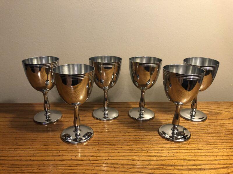 "SIX VINTAGE FABERWARE CHROME GOBLETS 4.25"" EXCELLENT CONDITION RARE"