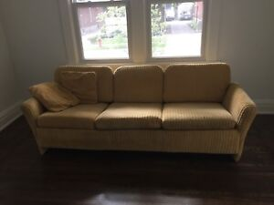 Shag couch in yellow