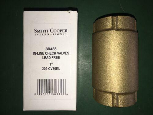 1 Inch Brass Inline Check Valve- Smith Cooper Intl. 209 CV30KL Lead Free -->NEW