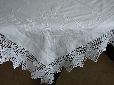 Beautiful vintage white linen embroidered tablecloth, 6 inch crochet lace 48