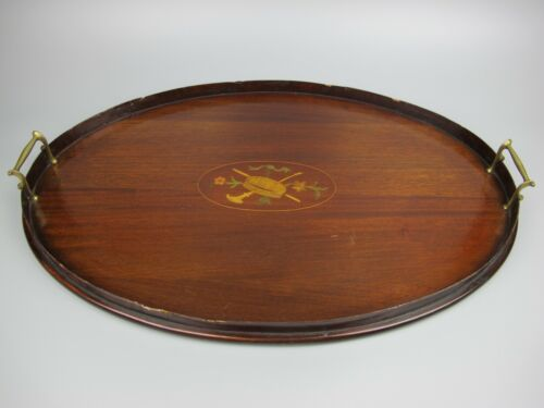 Large oval inlaid wood Victorian antique galleried Butler