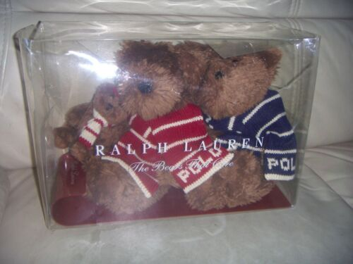 NEW VINTAGE -2003 Ralph Lauren POLO Bears 3 Plush Stuffed Toy Embroidered Scarf