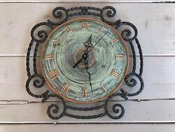 Vintage Danish Black Wrought Iron Wall Clock NEW QUARTZ BATTERY MOVEMENT 13 Inch