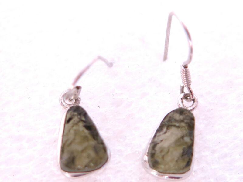 Very Nice Gemstone Natural Moldavite Earrings