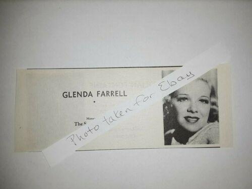 Glenda Farrell Original 1940s actors casting ad