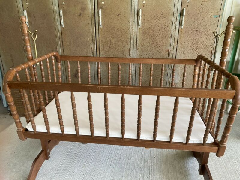 Unique Vintage Wood Cradle Swing Bassinet Spool Jenny Lind Style Brass Hooks