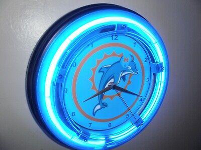 *Miami Dolphins Football Bar Gameroom Man Cave Blue Neon Wall Clock Sign Blue Dolphins Wall Clock