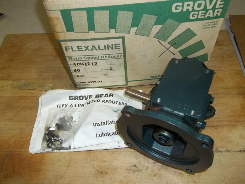NEW GROVE GEAR FLEXALINE TMQ213-2 RIGHT ANGLE WORM GEAR SPEED REDUCER RATIO 60:1