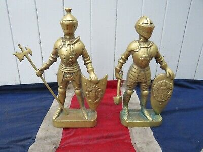 PAIR OF QUIRKY VINTAGE BRASS MEDIEVAL CRUSADE KING ARTHUR ENGLISH KNIGHTS