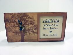 Heartfelt Creations Wood Table Clock Father Sentiment Replaceable w Photo NIB