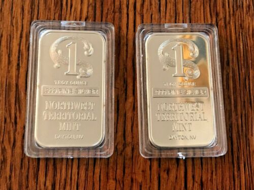 1oz Silver Bars (Lot of 2) .999 Fine Silver with Plastic Capsules Pictured