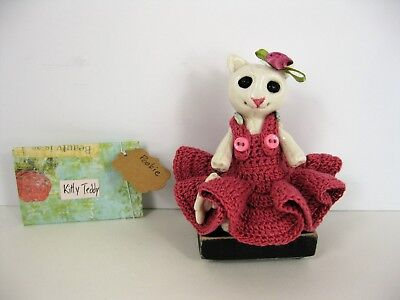 Porcelain bunny doll Juniper handmade crochet pink dress vintage doll chair