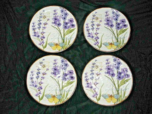 4 SUSAN WINGET Certified International Salad,Dessert Plate, HERB GARDEN,Lavender