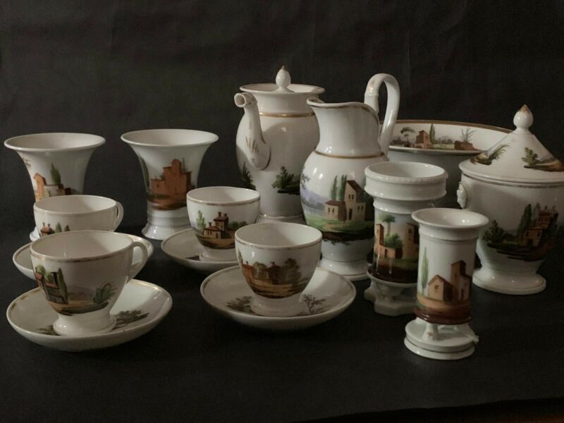 Antique Porcelain Mason Unmarked Hand Painted Tea Set