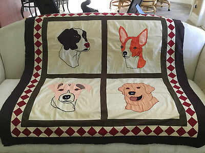 Dog Lover Machine pieced  lap quilt  top#1109