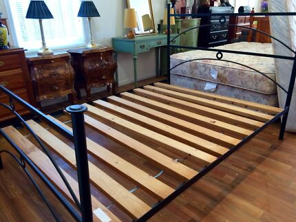 Solid black iron queen bed with timber slats Sandy Bay Hobart City Preview