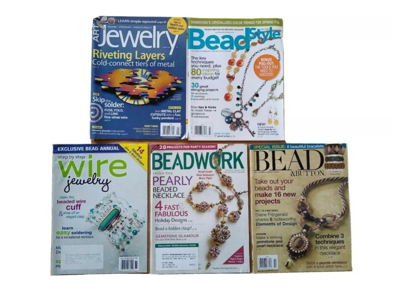 Mixed Lot of 5 Bead & Button StyleJewelry Magazines Beadwork Wire Jewelry