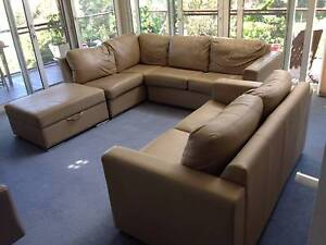 L-shaped sofa, ottoman and 2 seater leather sofa Wollstonecraft North Sydney Area Preview