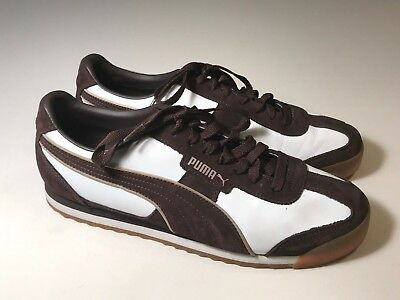Puma Clyde Brown Leather White Casual Athletic Shoes Men Size 10.5, EUC