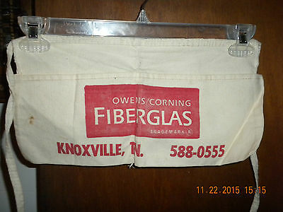 Vtg. Owens-Corning Fiberglas, Knoxville, Tn. Canvas Carpenter Nail Apron~ UNUSED