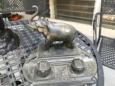 (Art Deco Elephant Ink Well Statue sculpture Spelter Metal LAST CHANCE)